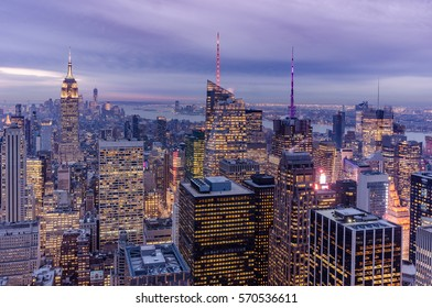 Amazing evening view on the Manhattan New York panorama after the sunset shoot from the Top of the Rock, Rockefeller Plaza viewpoint from the tripod