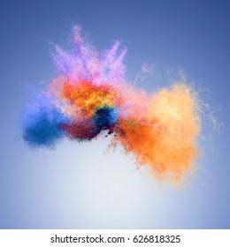 Amazing explosion of orange and blue powder. Freeze motion of color powder exploding. Illustration