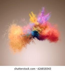 Amazing explosion of powder. Freeze motion of color powder exploding. Illustration