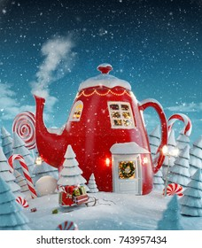 Amazing fairy house decorated at christmas in shape of kettle with christmas interior inside in magical forest. Unusual christmas 3d illustration postcard.
