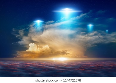 Amazing fantastic background - extraterrestrial aliens spaceship fly above clouds, ufo with blue spotlights in red glowing sky.