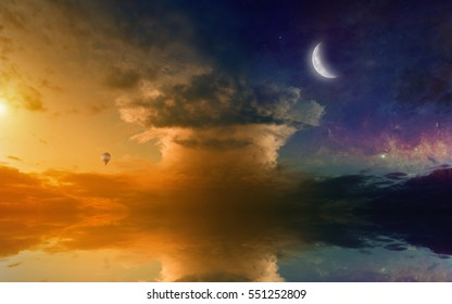 Amazing fantastic picture - hot air balloon in glowing sunset sky with rising new moon and mushroom like cloud, seascape with reflection in sea.  Elements of this image furnished by NASA