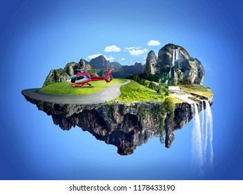 Amazing fantasy scenery with floating islands, water fall and helicopter landing on the floating island