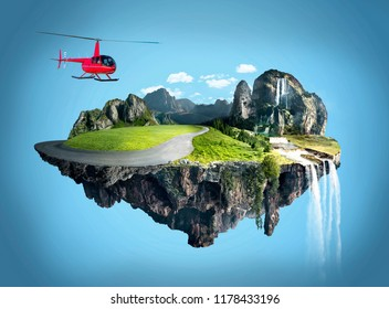 Amazing fantasy scenery with floating islands, helicopter fly on top of floating island