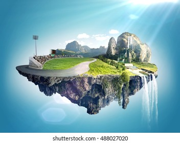 Amazing fantasy scenery with floating islands, water fall and field
