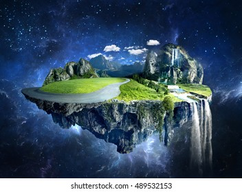 Amazing fantasy scenery with floating islands, water fall and field on space