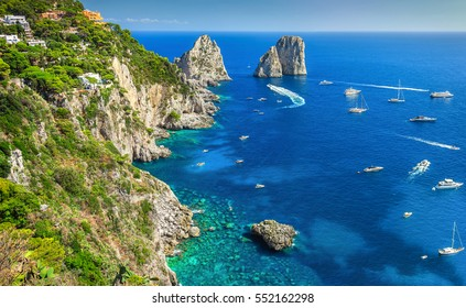 Amazing Faraglioni cliffs panorama with the majestic Tyrrhenian sea in background, Capri island, Campania region, Italy, Europe