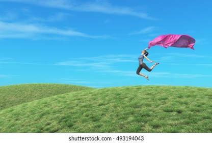 Amazing female dancer jumping with scarf on field. This is a 3d render illustration
