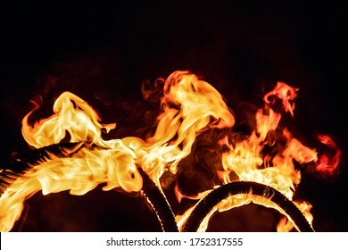 Amazing fire show at night