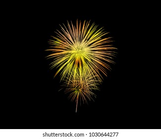 Amazing fireworks display with colorful in the dark sky outdoor night party to celebrate for holiday events.