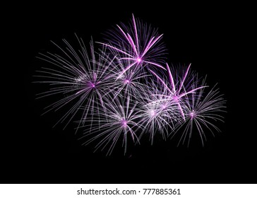 Amazing fireworks with space isolated on black background.