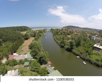 Amazing fisheye drone view near the river in agva sile turkey