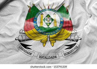 Amazing Flag of the Coat of the State of Rio Grande do Sul, Brazil