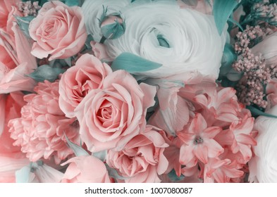 Amazing flower bouquet arrangement close up in pastel colors
