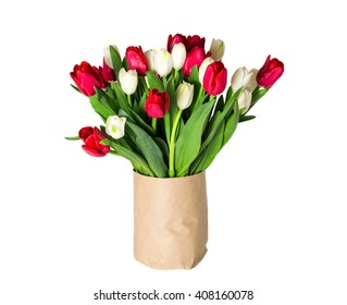 Amazing flowers background. Beautiful view of red and white flowering tulips in a vase, isolated for 8 march or international women day.