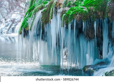 Amazing frozen waterfall, Bigar, Romania