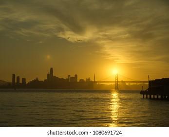 Amazing golden glow back lights San Francisco skyline, California, USA