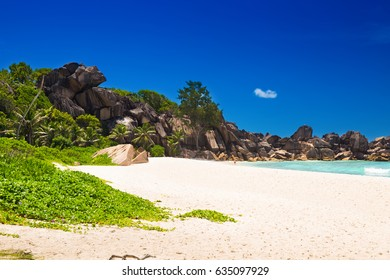 Amazing granite boulders tropical beach of Grand Anse on La Digue Island, Seychelles