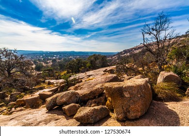 The Amazing Granite Stone Slabs and Boulders of Legendary Enchanted Rock, a Small Dome Mountain, in the Texas Hill Country.