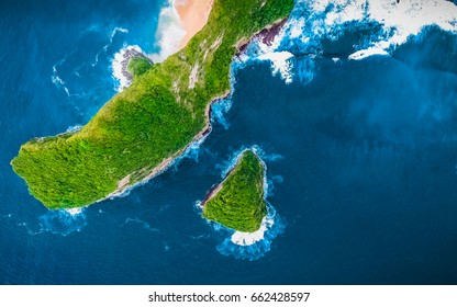 Amazing Green Field Island. Aerial Green Background View. Nature Green and Blue Tropical Landscape.