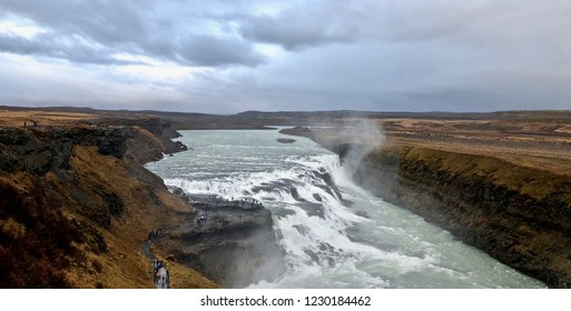 Amazing Gullfoss Waterfall on a cloudy day: Golden Circle, Iceland.