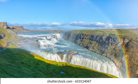 Amazing Gullfoss waterfall with rainbow, Iceland