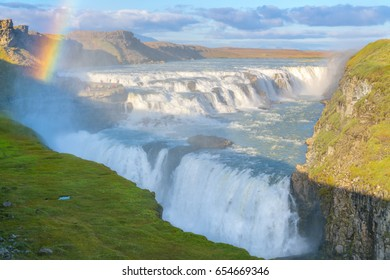 Amazing Gullfoss waterfall with rainbow in Iceland
