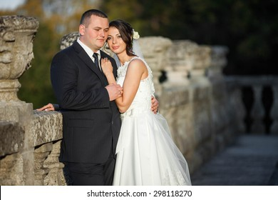 Amazing happy gentle stylish beautiful romantic caucasian couple on the background ancient baroque castle, Lviv