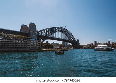 Amazing harbour bridge view with yachts  in Sydney Australia. August 30, 2017