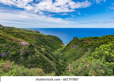 Amazing Hawaii valley leading into the pacific.