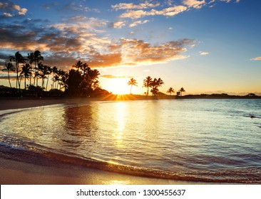 Amazing hawaiian beach at fantastic sunset. Beautiful holidays background.