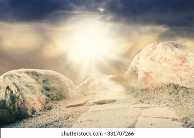 An amazing heavenly light on the top of the mountain of transfiguration/Point of enlightenment/Heavenly light radiance