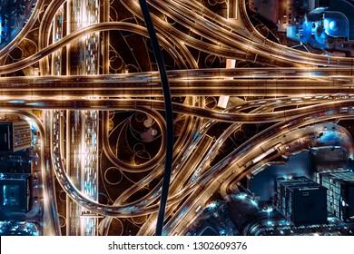 Amazing highway in Dubai. Birds eye aerial view. Sheikh Zayed Road.