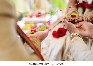 Amazing hindu wedding ceremony. Details of traditional indian wedding. Beautifully decorated hindu wedding accessories. Indian marriage traditions.