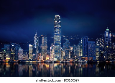 Amazing Hong Kong city lit up at night