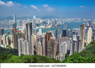 Amazing Hong Kong city skyline from Victoria peak at sunrise, China
