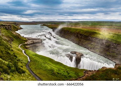 Amazing huge beautiful waterfall Gullfoss, famous landmark in Iceland, selective focus
