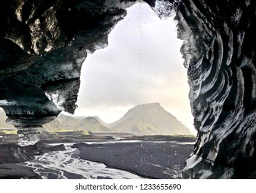 Amazing Ice cave Landscape close to Vik Village in a cloudy day: Iceland