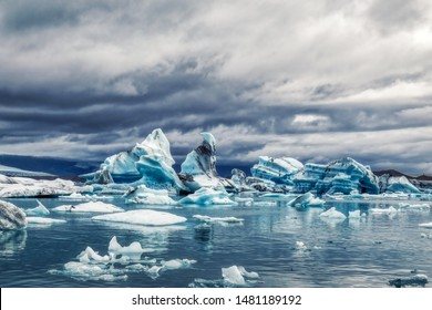 amazing iceberg formations at jokulsarlon glacial lagoon, place of James Bond Film on iceland, summer