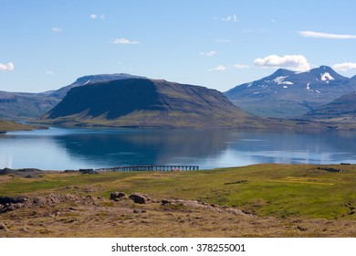 Amazing Icelandic landscape with a mountains and a gulf called Hvalfjordur.