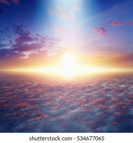 Amazing idyllic background - way to heaven and eternal life, bright light from skies, glowing horizon, pink clouds.