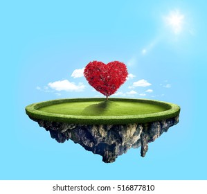 Amazing island with red love heart tree floating in the air under lovely sun ray