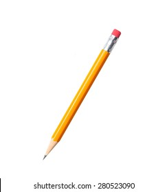 Amazing isolated tilted yellow pencil on pure white background.