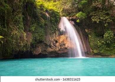 Amazing Kawasan falls in Badian on island cebu in philippines. perfect for canyoning swimming. Blue turquoise water 2020 Beautiful waterfall
