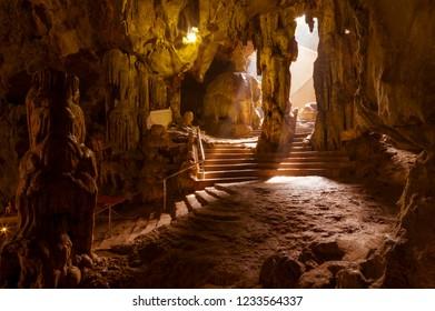 The Amazing Khao Luang Caves in Phetchaburi Thailand.