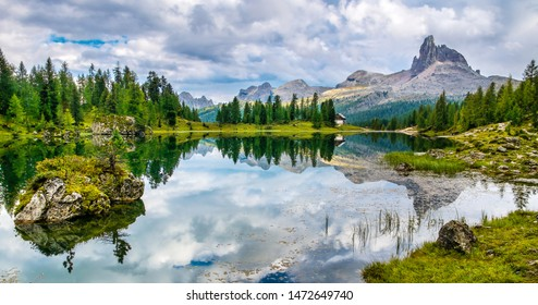 Amazing Lago Di Federa See with beautiful reflection. Majestic Landscape with Dolomites peak, Cortina D'Ampezzo, South Tyrol, Dolomites, Italy. Travel in nature. Travel concept. Beauty world. Panorama