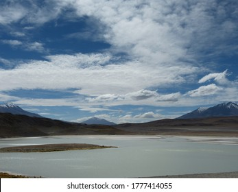 Amazing Laguna Blanca in Bolivia. Laguna Blanca is a salt mineral lake in an endorheic basin, in the Sur Lípez Province of the Potosí Department, Bolivia. It is near the Licancabur volcano. Cloudscape