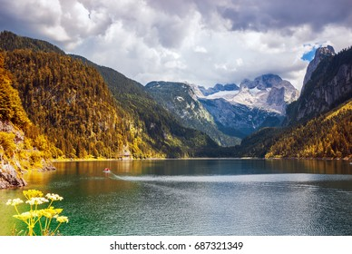 Amazing lake Gosausee and Dachstain peak in Ausrian Alps,Austria
