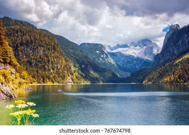 Amazing lake Gosausee and Dachstain peak in Ausrian Alps, Austria