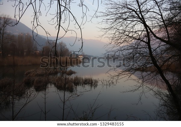 Amazing lake view with mountains and trees